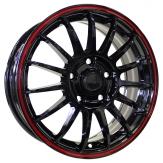 Alu kola Racing Line M31, 15x6 5x112 ET47, černá s červenou linkou
