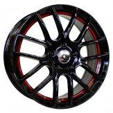 Alu kola Racing Line F40, 16x6.5 4x100 ET40, černá s červenou linkou