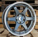 Alu kola Racing Line QC601, 17x7.5 5x114.3 ET35, šedivá + leštěný límec